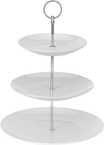 Spetebo Porzellan Etagere 3-stöckig - Höhe ca. 27 cm