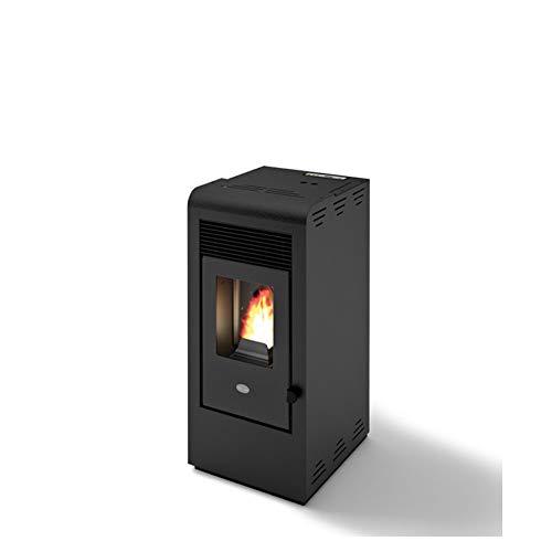 Eva Calor - Rita - 901655900 - Estufa de pellets de 9 kW, acabado negro con efecto relieve