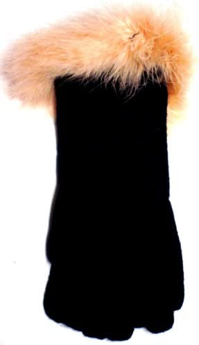 Black Angora Wool Gloves Trimmed with Beige Marabou