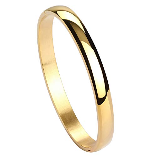 MILAKOO Damen 6mm Edelstahl Armband glatt poliert Oval Armreif Gold
