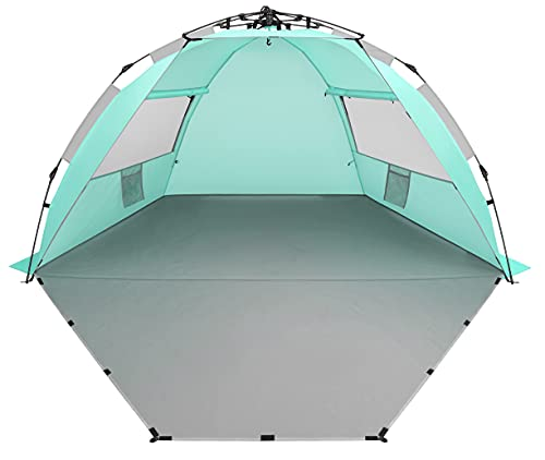 Oileus X-Large 4 Person Beach Tent Sun Shelter - Portable Sun Shade Instant Tent for Beach with Carrying Bag, Stakes, 6 Sand Pockets, Anti UV for Fishing Hiking Camping, Waterproof , Light Green