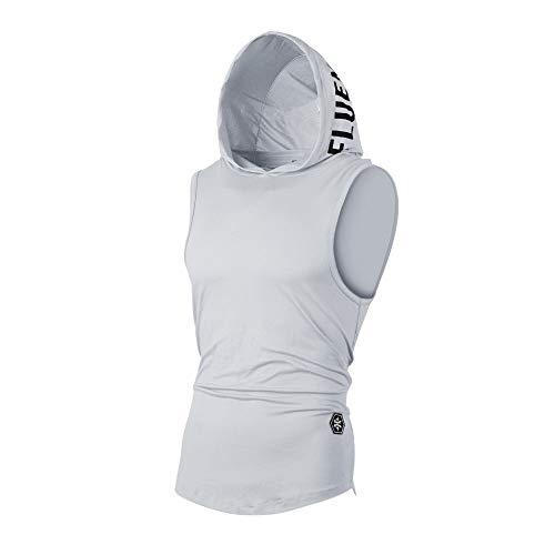 UJUNAOR Tank Top Herren Slim Fit Basic T-Shirt Tankshirt Mit Kapuze Ärmellos Muskelshirt Fitness Unterhemden(Grau,EU M/CN L)