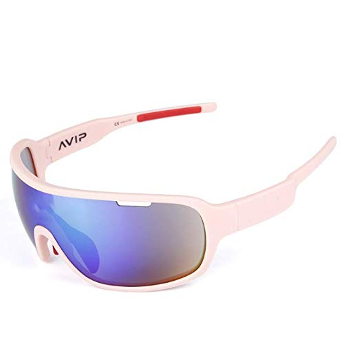 Polarisierte Sport-Sonnenbrille, Männer und Frauen austauschbar mit fünf Linsen im Freien Reiten Laufen Ski Angeln Golf Baseball Brille Bergsteigen,Rosa