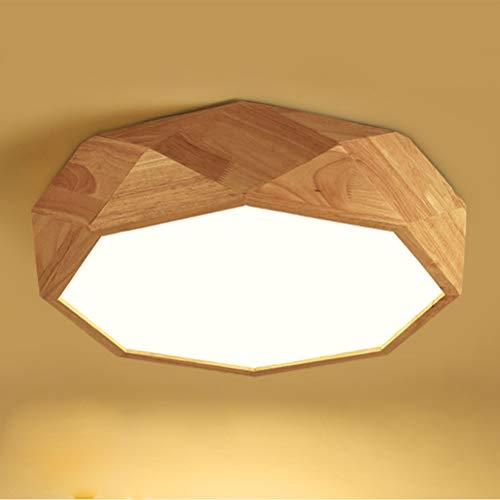 Lámpara de techo de diseño geométrico moderno y sencillo,LED, regulable,cuerpo de lámpara de madera con mando a distancia, para baño,comedor,cocina,dormitorio,salón,oficina,lámpara de lectura