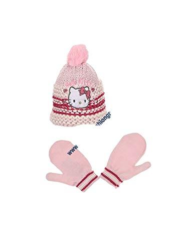 Hello kitty Bonnet maille et moufles bébé/enfant fille Rose et Violet de 9mois à 3ans - Rose, 48 cm (9-18 mois)