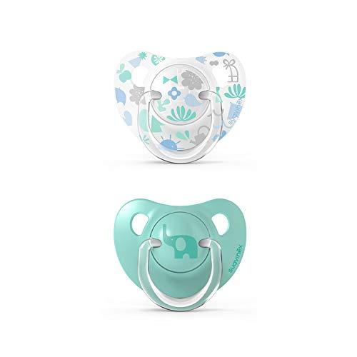 Suavinex Pack Chupetes para Bebés, Chupete con Tetina Anatómica de Silicona, (307154) Verde 6-18 Meses, 2 Unidades