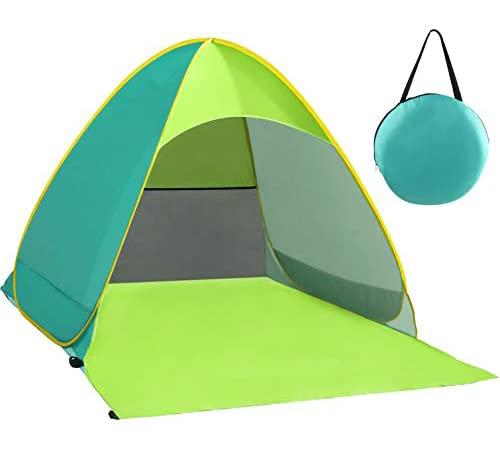 Karvipark Strandmuschel, Tragbar Extra Light Strandzelt, Sun Shelter für 2-3 Personen, Einschließlich Tragetasche und Zeltpflöcke, UV-Schutz, Beach Zelt für Familie, Strand, Garten, Camping(Grün)