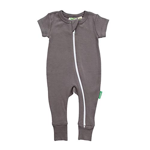 PARADE Essential Basics '2-Way' Zip Romper - Short Sleeve Charcoal 6-12 Months
