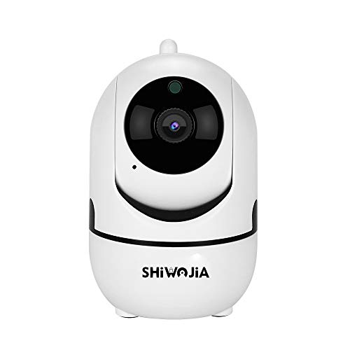 SHIWOJIA 1080P Cámara Interior, Vigilancia Cámara IP WiFi 2.4G con Visión Noturna, Detección de Movimiento, Audio Bidireccional Apoyo Android/iOS