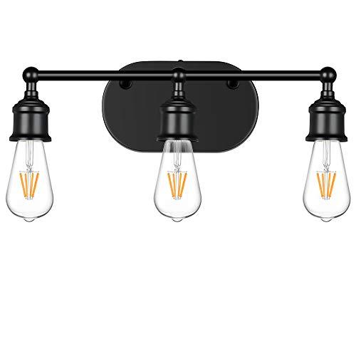 3-Light Vanity Light Fixture, Industrial Wall Sconce Lighting Black, Farmhouse Bathroom Vanity Wall Lights E26 Base, Vintage Metal Indoor Wall Lamp for Mirror Cabinet Kitchen Bedroom Hallway