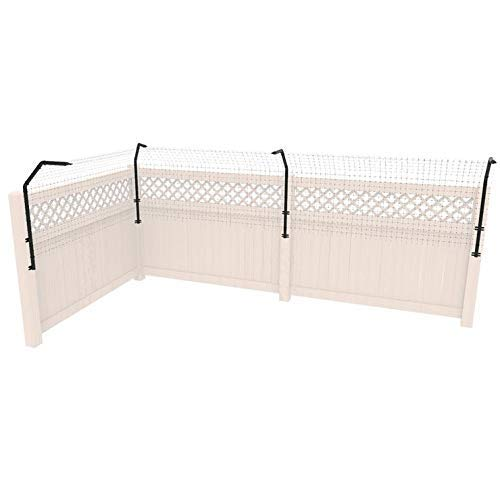 Dog Proofer Fence Extension System - Patented Curved Design - Stop Jumping & Climbing Animals (50 Feet, Poly Mesh Fence Material)