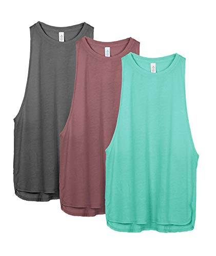 icyzone Damen Sport Tank Top Ringerrücken Yoga Fitness Shirt Loose Fit Sport Oberteile, 3er Pack (S, Charcoal/Burgundy/Mint)