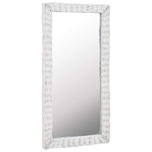 Festnight Spiegel Korbweide Spiegel Wandspiegel Badspiegel aus Echtrattan Weiß 50x100 cm