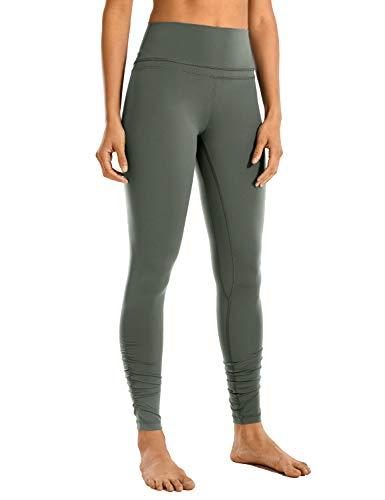 CRZ YOGA Mujer Pantalones Deportivos Leggings Yoga de Alta Cintura Extra Largo Leggins con Bolsillo -81cm Sabio Gris 36