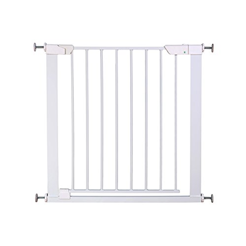 ALLAIBB Auto Close Metal Baby Gate Magnetic Walk Thru Safety Gates, White, 62.6-65.4 in