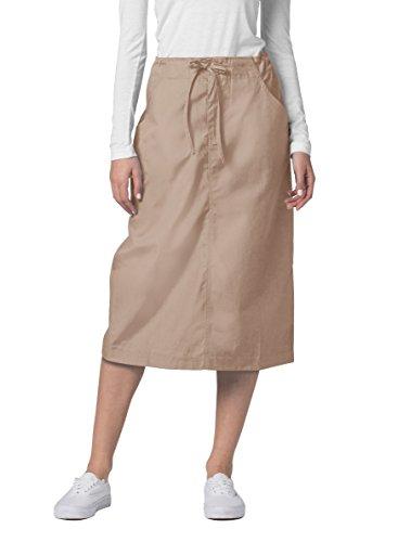 Adar Universal Scrub Skirts for Women - Mid-Calf Drawstring Scrub Skirt - 707 - Khaki - 14