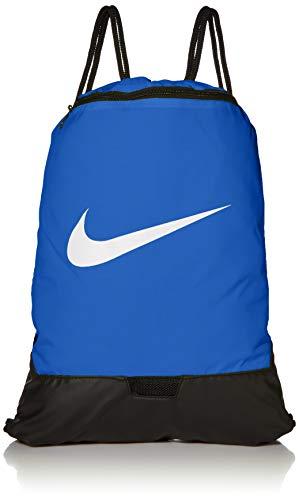 Nike Brasilia Training Gymsack, Drawstring Backpack with Zipper Pocket and Reinforced Bottom, Game Royal/Game Royal/White