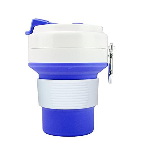 wjmss Taza de Viaje, Taza de café Plegable de Silicona Taza de Agua Deportiva para Viajes/Home/Bebida Diaria/Deportes,Azul