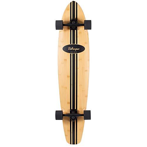 Retrospec Zed Bamboo Longboard Skateboard Complete Cruiser, Black Pipeline , 44 in.