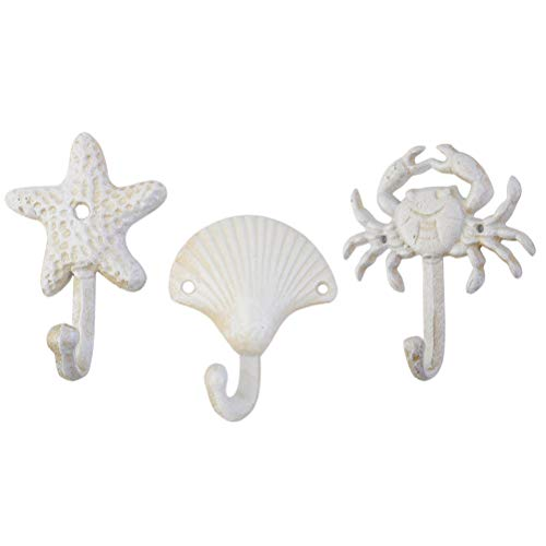 TOPBATHY 3pcs Nautical Hooks Crab sea Shell Shape Wall Hooks Coat Towel Hooks Robe Key Hat Clothes Hooks Wall Hangers Nautical Beach Coastal Wall Decorations Ornaments