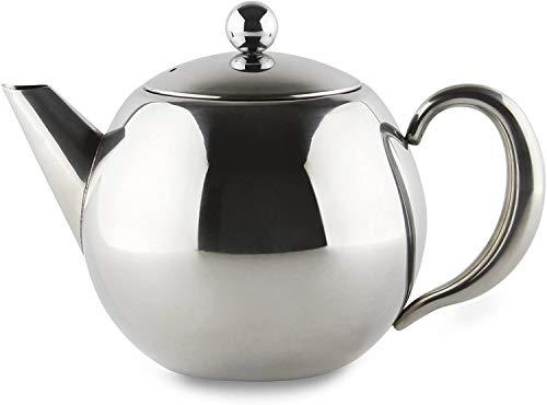 Grunwerg Café Olé Rondeo Teekanne mit Teeei – 18/10 Edelstahl, 35 oz, 1000 ml