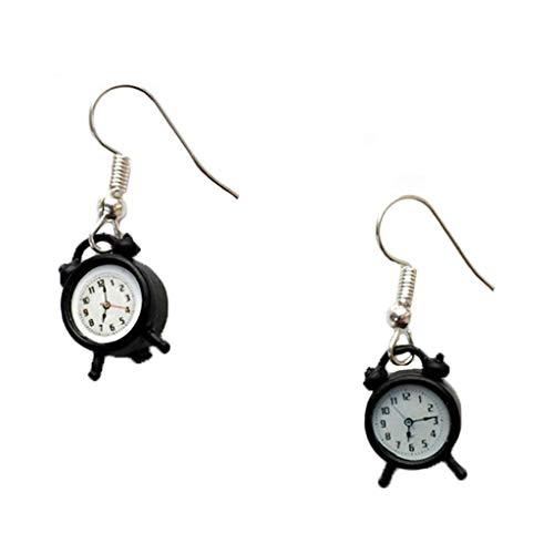 QIANGU Pendientes para mujer, 1 par creativos y lindos mini vintage reloj despertador pendientes minimalismo diseño de dibujos animados femeninos ganchos para colgar joyas de regalo