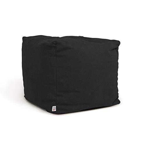 Arketicom Soft Cube Pouf reposepied déhoussable beanbag Poire Sac 42x42cm Noir