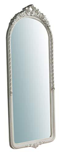 Biscottini Specchio Specchiera da parete stile Shabby in legno con finitura bianca anticata misure L40xPR5xH98 cm produzione Artigianato Fiorentino Made in Italy