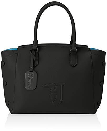 Trussardi Jeans Melissa Tote Bag Ecoleather Co, Borsa Donna, Nero (Black On Tone), 33x24x16 cm (W x H x L)