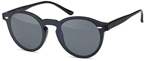 styleBREAKER gafas de sol con un solo cristal con lentes planas y patillas de plástico, lentes redondas, unisex 09020081, color:Marco Negro / Vidrio gris tintado opaco