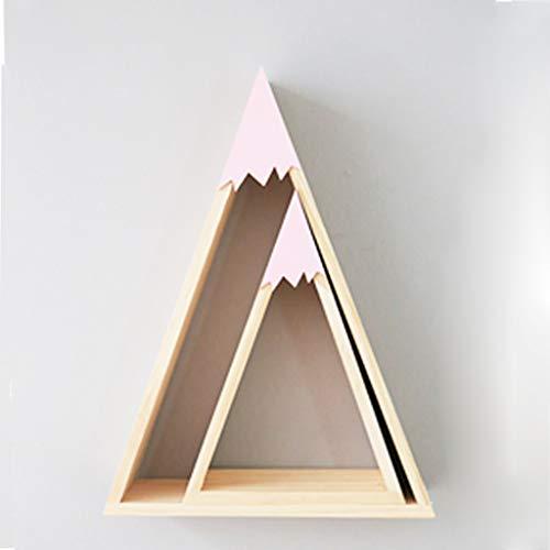 AFQHJ Display planken Zwevende Wandplank 2-delige Set Driehoek Houten Muur Gemonteerd Slaapkamer Decoratie Opslag Rek Robuuste Terug Metalen Haak Gemakkelijk te installeren