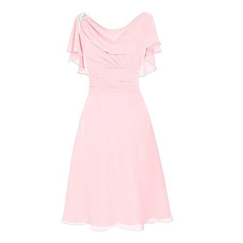 Pervobs Elegant & Cute Formal Dress Women Wedding Bridesmaid High-Waist Ruffled Party Ball Prom Gown Cocktail Dress(S, Pink)