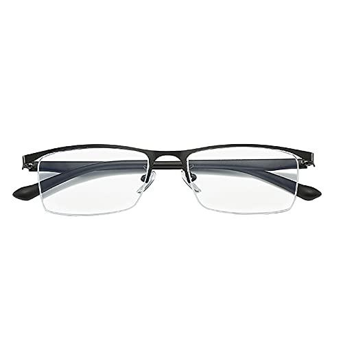 JJ Home Moda Gafas De Lectura con Luz Anti-Azul, Gafas Rectangulares para Hombres y Mujeres, Gafas de Lectura Graduadas Ultra Delgadas, Bisagra de Resorte