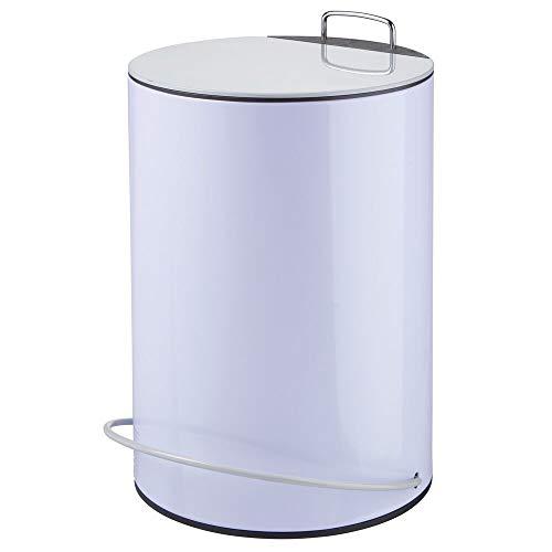 mDesign Cubo de basura con pedal y tapa – Contenedor de residuos de acero de 5 litros – Perfecto como caja para maquillaje o como papelera de baño, cocina u oficina – morado y gris