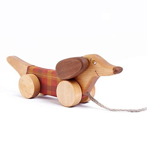 Nachziehtier Hund aus Holz