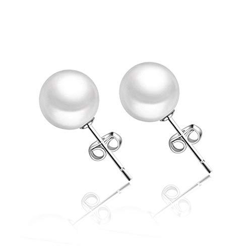 Sterling Silber White Button Süßwasser Zuchtperle Ohrstecker für Frauen Geschenk