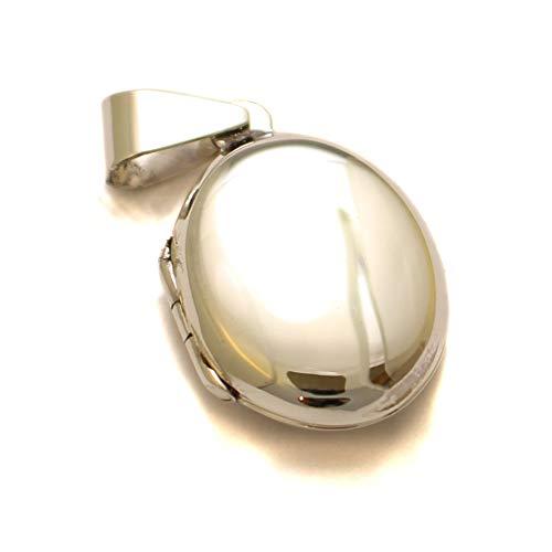 Medaillon klein oval, 925 Sterling Silber, Fotomedaillon für Halskette, Foto Amulett zum Aufklappen, Erinnerung gravierbar