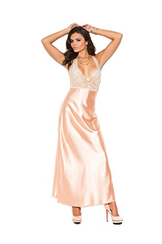 Plus Size Women's Lace and Charmeuse Halter Neck Gown Peach