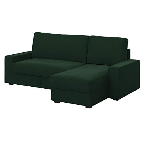 Soferia Ersatzbezug fur IKEA VILASUND Bettsofa mit Récamiere, Stoff Elegance Wakame Green, Grün