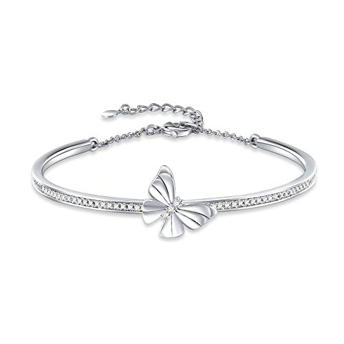 GEORGE · SMITH Silver Butterfly Bangle Bracelets for Womens, Crystal from Swarovski, Elegant Valentine's Gift for Wife Girlfriend-With Gift Box
