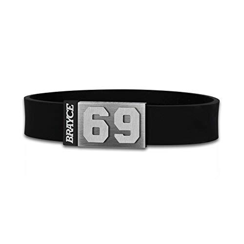 BRAYCE® Trikot am Handgelenk® mit Deiner Trikot Nummer 00-99 I Armband in schwarz I Sportarmband/Teamarmband personalisierbar & handgemacht