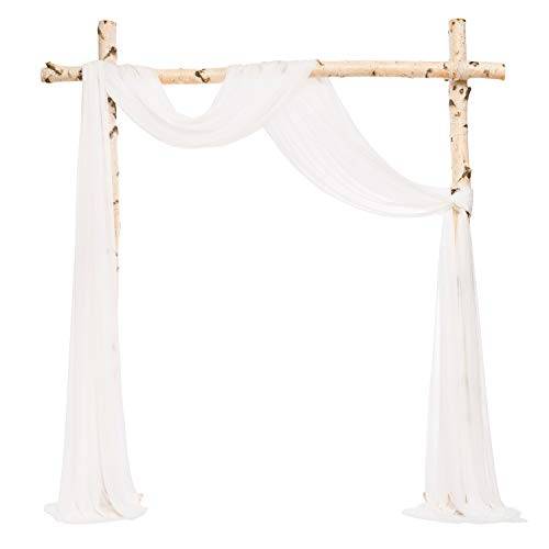 Ling's moment White Wedding Curtains Arch Draping Fabric Ceremony Backdrop Decorations
