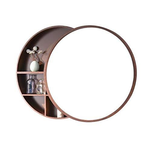 Zhenwo Spiegelschränke Badezimmerspiegelschrank Schlafzimmer Wandspiegelschrank Runde Kosmetikspiegelschrank Badezimmerspiegel Mit Regal Offene Tür,A