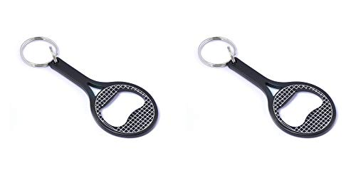 munkees 2 x Schlüsselanhänger Tennis Flaschenöffner Tennisschläger, Schwarz, Doppelpack, 340589