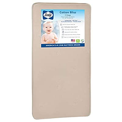 """Sealy Nature Couture Cotton Bliss Waterproof 2-Stage Toddler & Baby Crib Mattress - 204 Premium Coils, 51.7"""" x 27.3"""", Gold"""