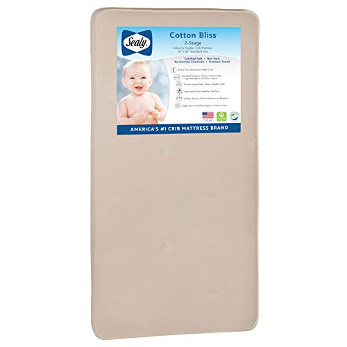 "Sealy Nature Couture Cotton Bliss Waterproof 2-Stage Toddler & Baby Crib Mattress - 204 Premium Coils, 51.7"" x 27.3"", Gold"