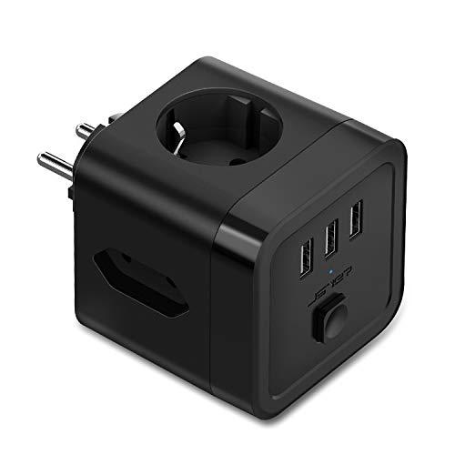 JSVER USB Steckdose Steckdosenleistewürfel, 3 Fach Steckdosenadapter Mehrfachsteckdose(2 Eurosteckdose +1 Schuko)Cube überspannungsschutz 3 USB mit Schalter für Büro, zu Hause oder auf Reisen-Schwarz