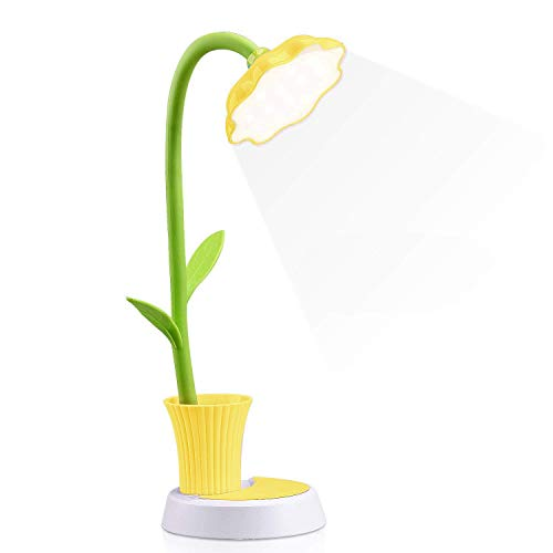 Aiskki Schreibtischlampe für Kinder LED Augenschutz Schreibtischlampe Dimmbare Nachttischlampe mit Touchsensor mit Stifthalter(Gelb)