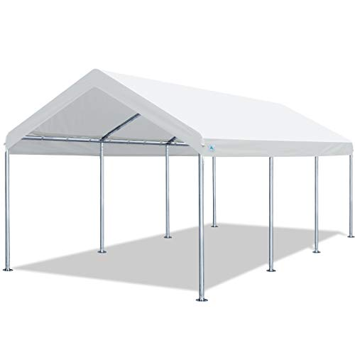 ADVANCE OUTDOOR 10 x 20 FT Heavy Duty Carport Car Canopy Garage Boat Shelter Party Tent, Adjustable Height from 6.0ft to 7.5ft, White