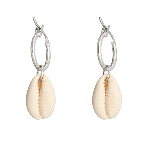 Silber Ohrringe mit Natürlicher Muschel Anhänger für Frauen und Mädchen Creolen Klein Naturelfenbein Weiß 18K Nickelfreier